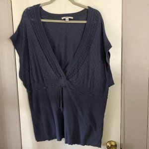 Dusty Blue Pointelle Deep V-Neck Pullover Sweater